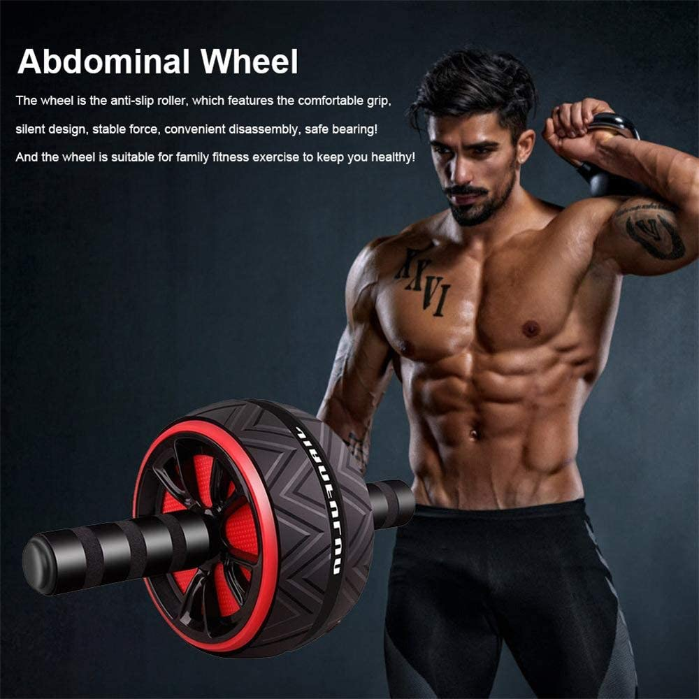 Abs Wheel Exercise Gym Roller Abdominal Core Fitness Muscle Trainer Ab Roller + Non-slip Mat for Man Women Home Gym Training image