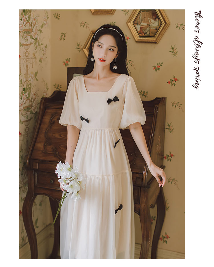 2021 Summer New Arrival French Style High Quality Square Collar Puff Sleeve Bowknot Women Chiffon Long Dress
