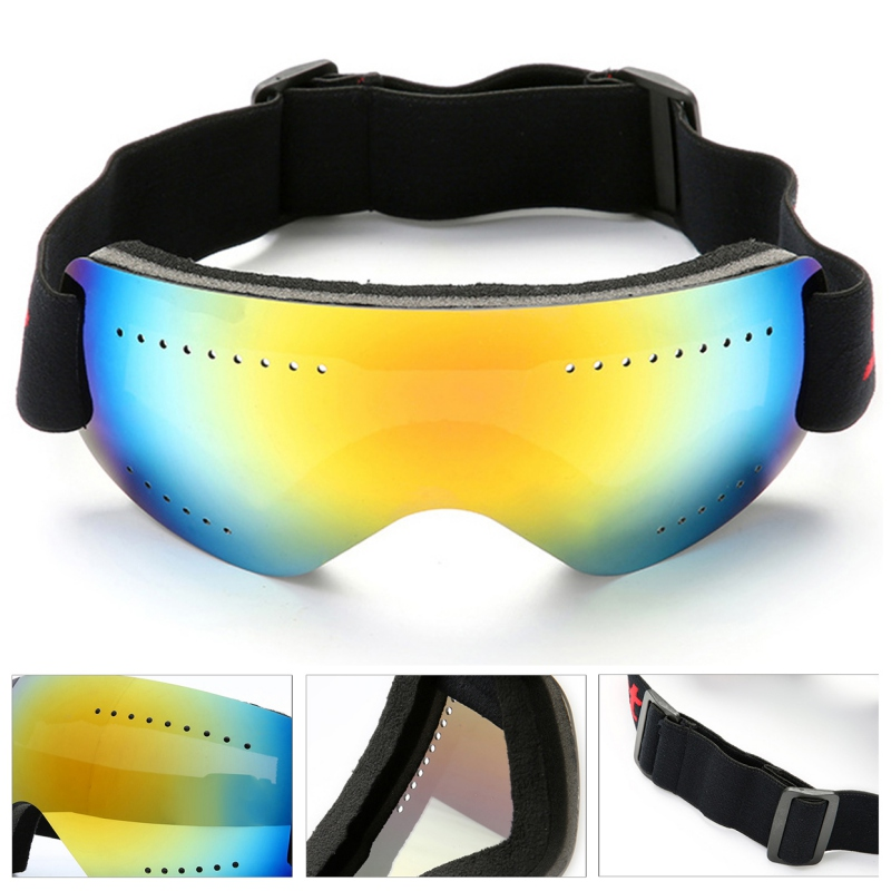 Outdoor Adjustable Ski Snowboard Goggles Anti Fog UV Protection With Elastic Head Band Motorcycle Glasses Road Racing Eyewear
