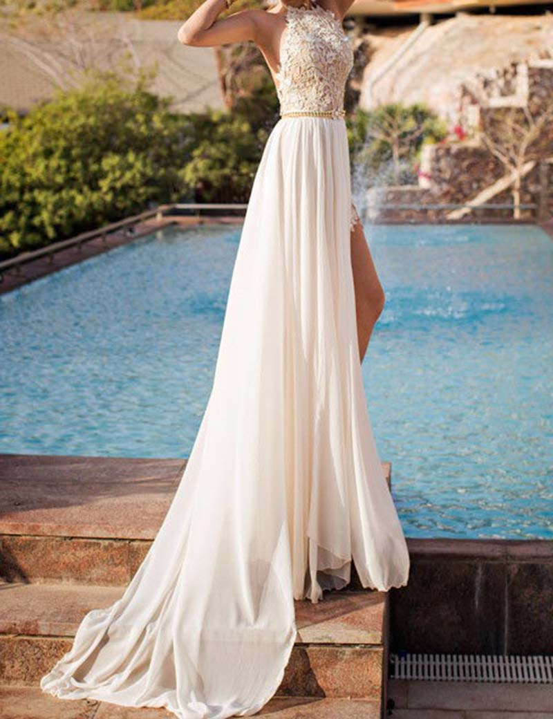 2016 White Long Vestido De Novia Beach Bridal Gowns Sexy Backless Wedding Dresses Halter Illusion Lace Wedding Dresses 2016