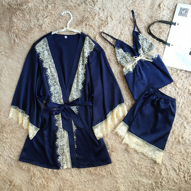 3Pcs Sexy Lace Up Lingerie Nightwear Underwear Set For Women Robe Sleepwear Pajamas Silk Sleeveless Hot Shorts Set Loose S-XL