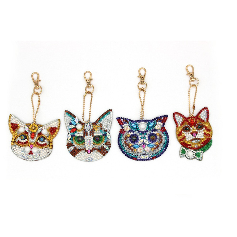4Pcs Cat Head DIY Diamond Keychain Special Shaped Diamond Keyring Fashion Pattern Bag Pendant Ornament Cross Stitch YSK23