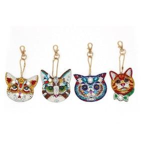 4Pcs Cat Head DIY Diamond Keyc