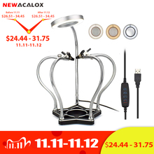 NEWACALOX Soldering Helping Hands 3X LED Illuminated Magnifier Third Pana Hand Soldering Station Vise Welding Repair Tool