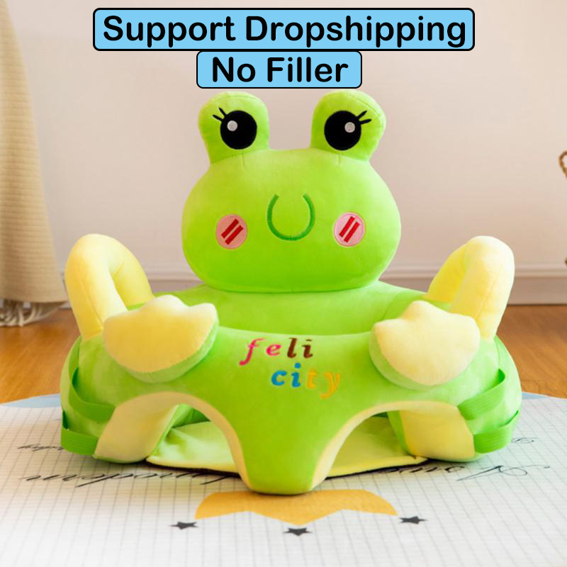 Cartoon Baby Sofa Support Seats Cover Toddlers Learn To Sit Soft Plush Feeding Chair Cover Skin For Infant Sofa No Cotton