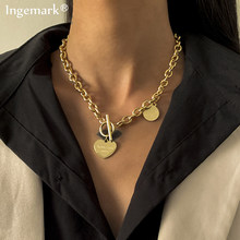 Vintage Gothtic coeur serrure pendentif en acier inoxydable collier pour les femmes tempérament métal Texture collier ras du cou 2021 hommes bijoux