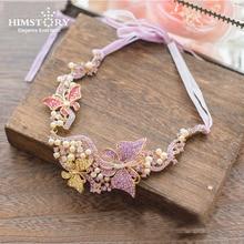 HIMSTORY Handmade Elegant Pink Brides Hairbands Korean Bridal Headbands Crystal Evening Hair Jewelry Wedding Accessory