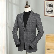 2019 Europe Grey Plaid Blazers Men Full Sleeve Smart Casual Blazer Jacket Fashion City Suit Male Regular Coat Spring Autumn