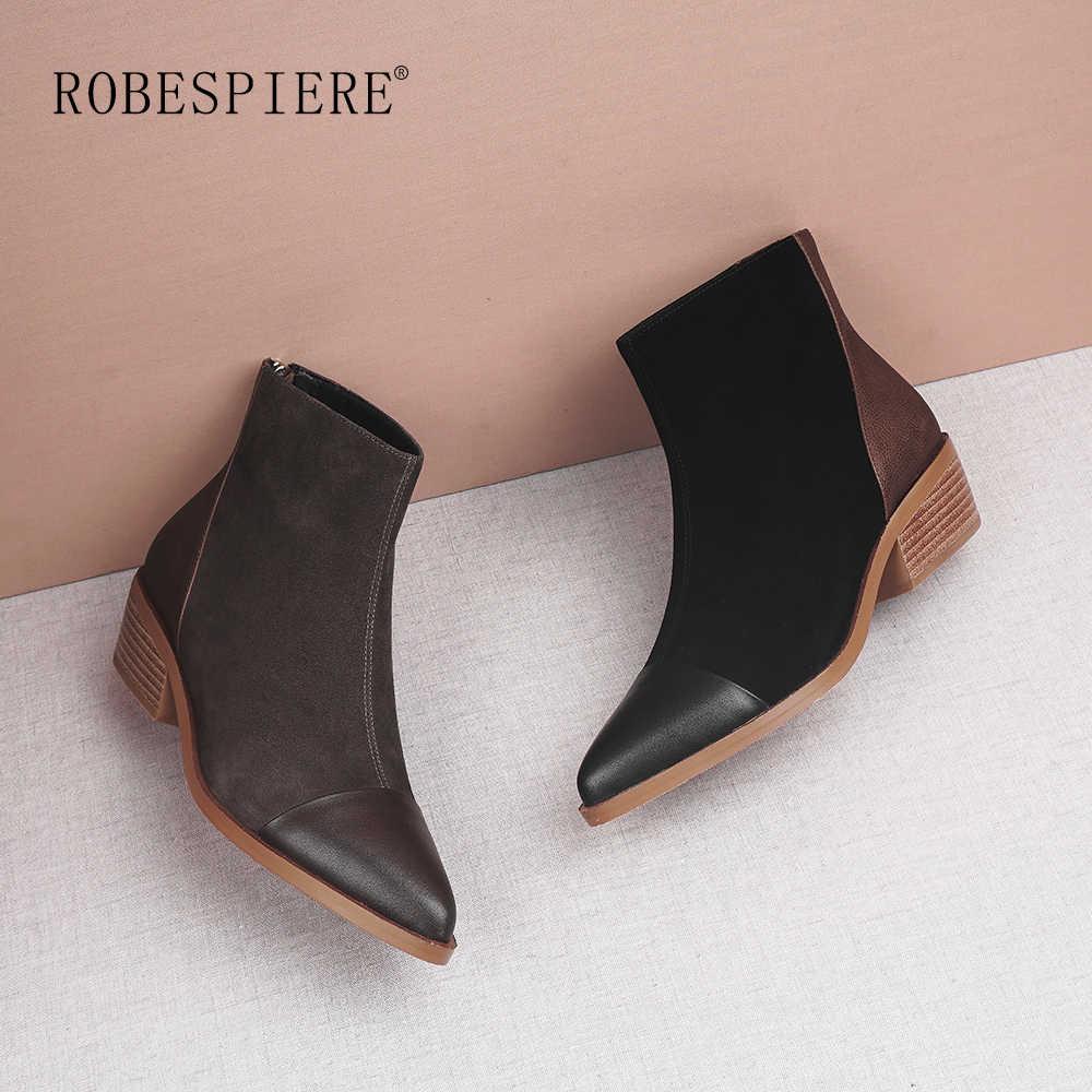 ROBESPIERE Frauen Winter Stiefel Aus Echtem Leder Spitz Schuhe Frau Pop Zipper Braun Platz Ferse Warme Plüsch Western Stiefel B106