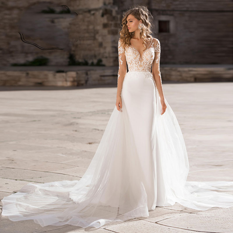 Verngo 2019 Boho Wedding Dress Elegant Lace Appliques Bridal Gown Custom Made Wedding Dress New Design Mermaid