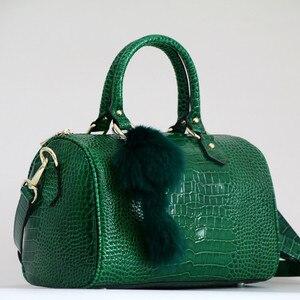 Image 1 - Luxo boston saco de couro genuíno das mulheres saco \ bolsa de leopardo padrão marca senhora travesseiro tote bolsa de ombro grande bolsa crossbody