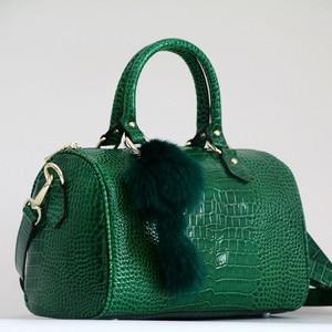Image 1 - Luxury Boston Bag Genuine Leather Women Bag\Handbag Leopard Pattern Brand Lady Pillow Tote Cowhide Big Shoulder Crossbody Bag