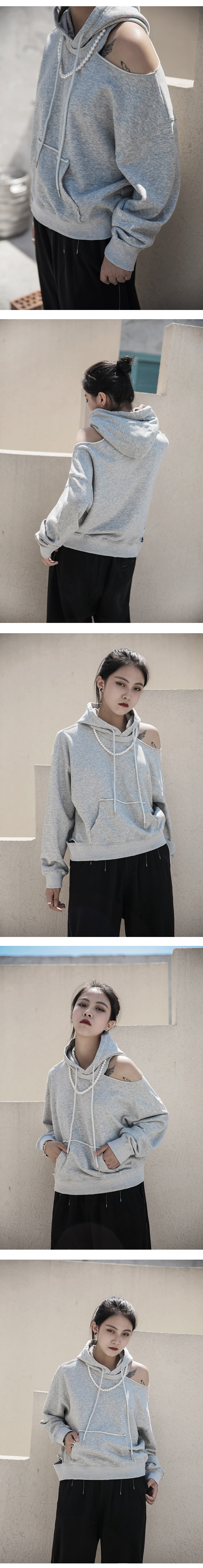 New Fashion Style Loose Fit Pearl Split Joint Off Shoulder Sweat Shirt Fashion Nova Clothing