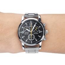 DUOBLA Men Watches Quartz Analog Wristwatch Steel Band Watch