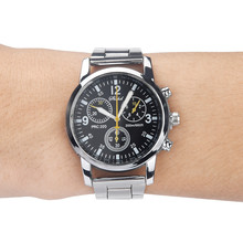 DUOBLA Men Watches Quartz Analog Wristwatch Steel Band