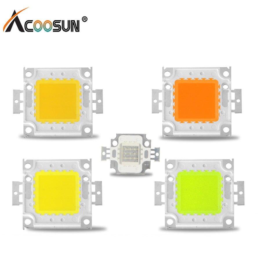Светодиодный чип Cob 10 Вт 9-12V 20W 30W 50W 100W 30-36V Высокая Мощность Интегрированный Светодиодный бусины DIY Аксессуары к осветительным приборам для п...