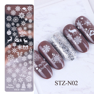 Image 4 - 1pcs 12x4cm Nail Stamping Plates Leaf Flowers Butterfly Cat Nail Art Stamp Templates Stencils Design Polish Manicure TRSTZN01 12