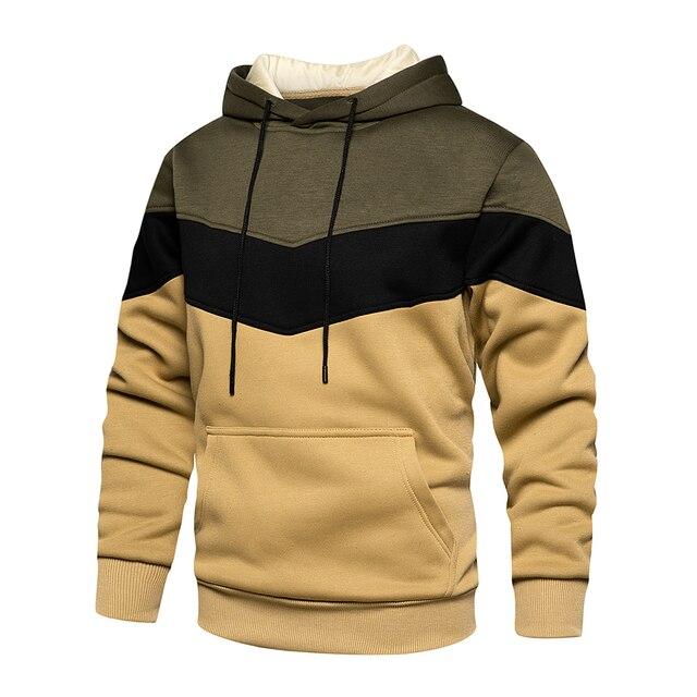 Men's Patchwork Hooded Sweatshirt Hoodies Clothing Casual Loose Fleece Warm Streetwear Male Fashion Autumn Winter Outwear 3