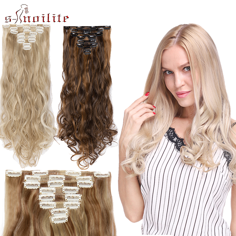 S-noilite Clip In Hair Extension Long Wavy Hair Piece Synthetic Hair Extenions Clips Hair Red Pink Blue Purple Hair False Hair