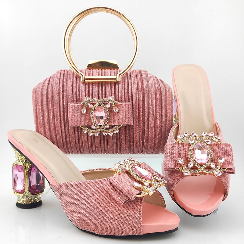 Hot sale pink women pumps with big crystal heel style african dress shoes match handbag set MD017,heel 10CM(China)