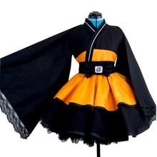 Naruto Cosplay kostüm Uzumaki Naruto Lolita elbiseler Kimono kadınlar elbise Anime Cosplay cadılar bayramı partisi üniformaları peruk