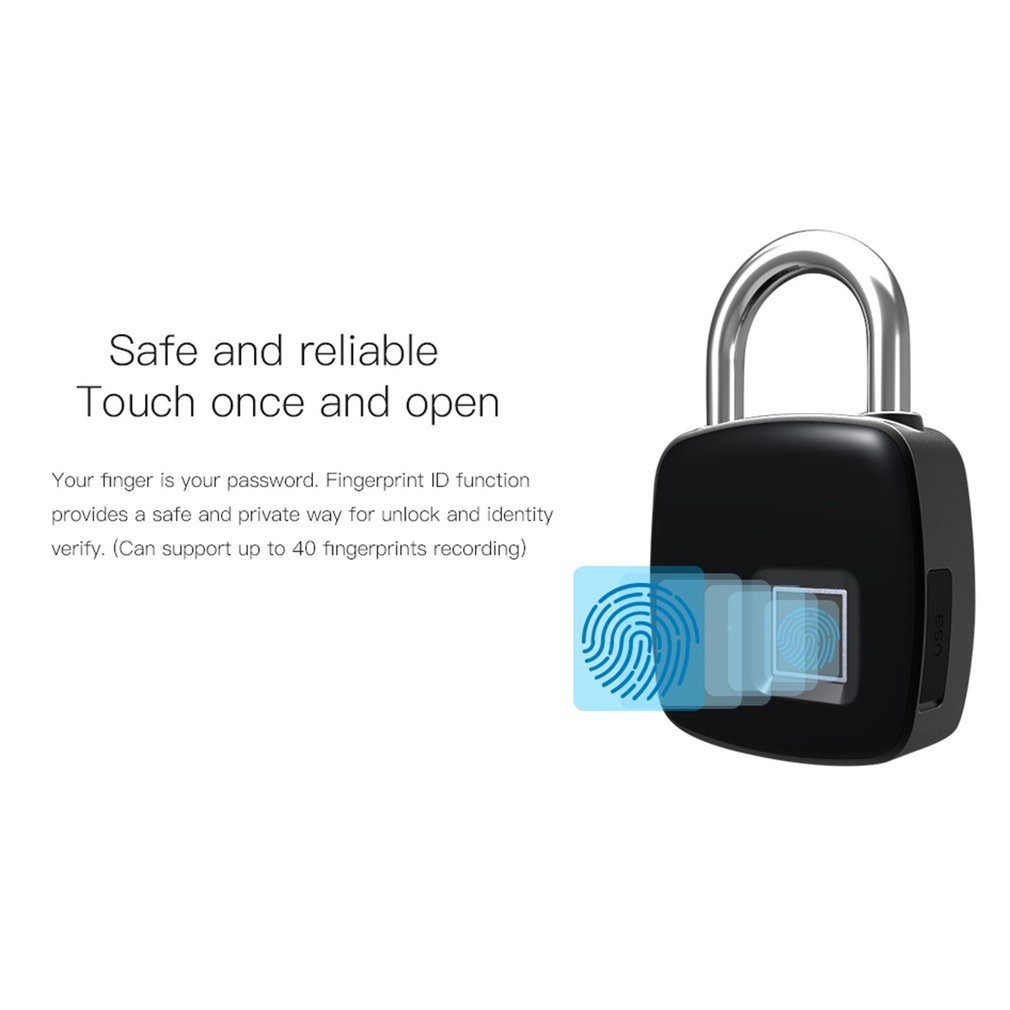 Smart Keyless Fingerprint Lock P3+ USB Rechargeable Access BT Security Padlock Door Luggage Case Lock  For Android IPhone