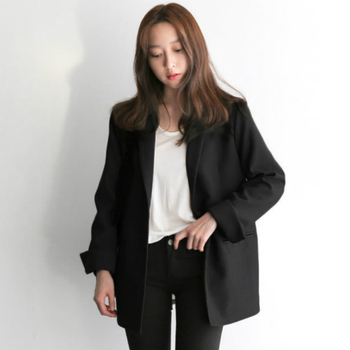 Women Black Suit Blazer Office Jacket Ladies Tailored Oversized Fashion Double Buttons Long Loose Coat Formal Casual Autumn 2020 simple casual texture fabric retro decorative buttons commuter loose suit jacket 2019 notched double breasted women jacket coat