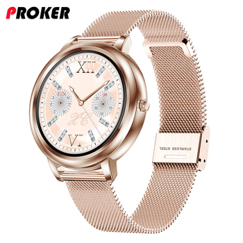 Proker Smart Watch 2020 Full Touch Control Round Screen Fashion Women Smartwatch Lady Health Tracking Watch For iOS Android 1