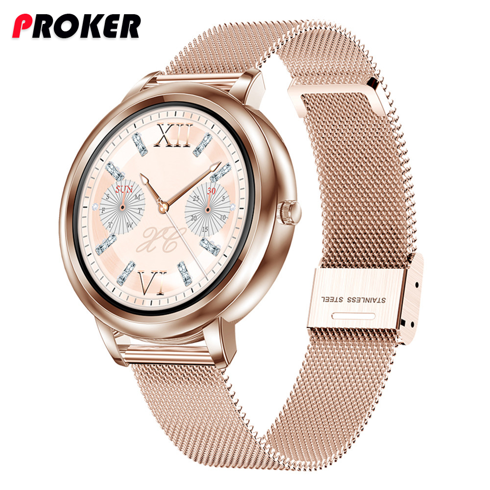 Proker Smart Watch 2020 Full Touch Control Round Screen Fashion Women Smartwatch Lady Health Tracking Watch For iOS Android