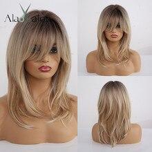 ALAN EATON синтетические парики длинные прямые слоистые волосы Омбре черный коричневый блонд серый пепельный Полный парики с челкой для черных женщин