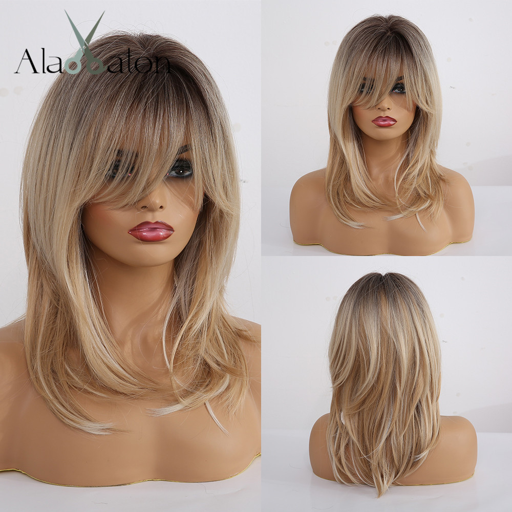 ALAN EATON Synthetic Wigs Long Straight Layered Hairstyle Ombre Black Brown Blonde Gray Ash Full Wigs with Bangs for Black WomenSynthetic None-Lace  Wigs   -