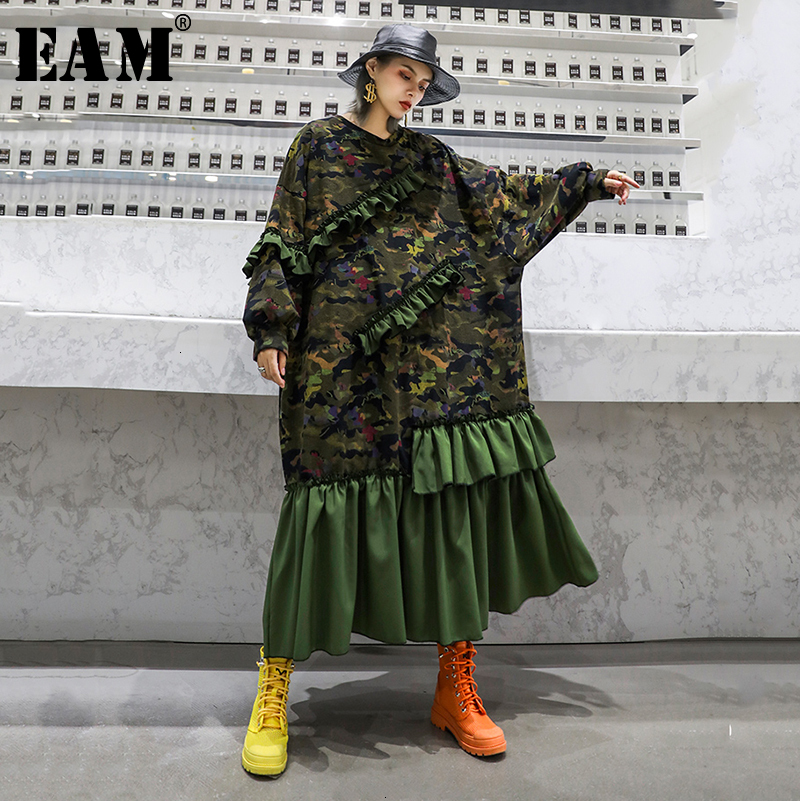 [EAM] Women Camouflage Pleated Ruffles Big Size Dress New Round Neck Long Sleeve Loose Fit Fashion Tide Spring Autumn 2020 1D526