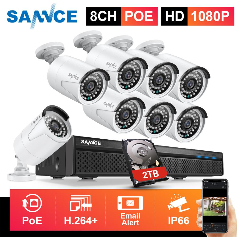 SANNCE 8CH 1080P FHD POE Security System H.265 5MP NVR With 4X 6X 8X 2MP Outdoor Weatherproof Audio Record IP Cameras CCTV Kit