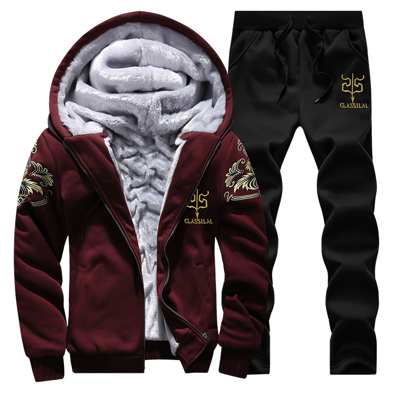 Autumn & Winter New Style Men Hooded Japanese-style Embroidery Harpoon Brushed And Thick Hoodie Large Size Leisure Sports Suit M