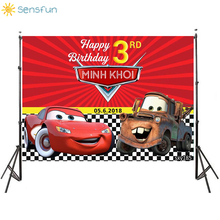 Buy Sensfun Cartoon Car Story Birthday Themed Backdrops Racing Flag Black White Grid Red Photo Backgrounds for Photography photocall directly from merchant!