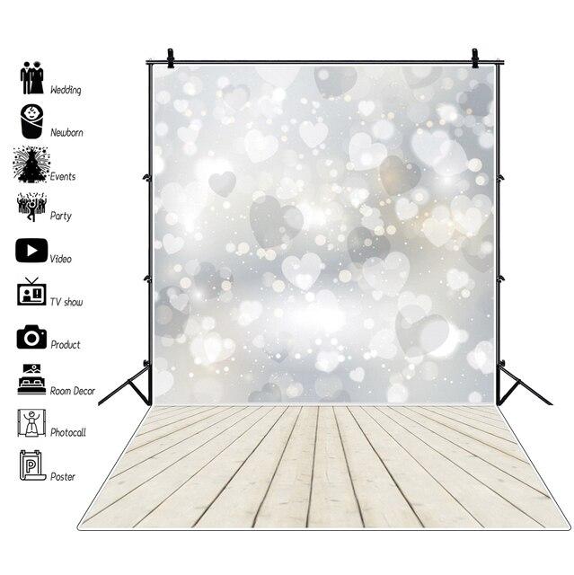 خلفيات خلفية لأعياد ميلاد الطفل Laeacco المضيئة على شكل قلب خوخي على شكل ندفة الثلج خلفيات تصوير أرضية خشبية خلفيات تصوير لحديثي الولادة