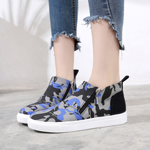 Oomtli / printed camouflage shoes; womens casual shoes with flat soles; Vulcanized zippers; zapatos de mujer; tenis;