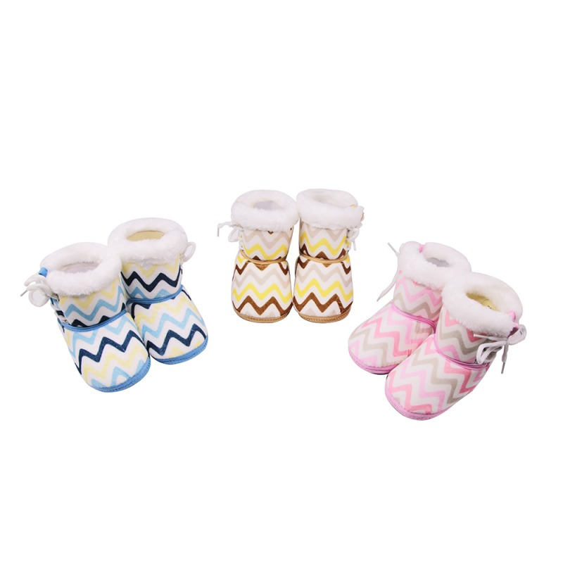 Newborn Winter Warm Boots Toddler Lace Up Striped First Walkers baby Girls Boys Shoes Soft Sole All-match Booties for 0-18M thumbnail