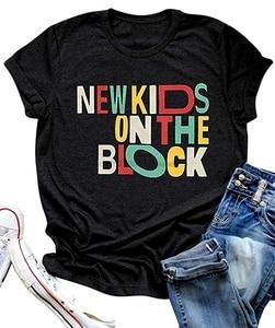 Nuevas camisetas para niños en el bloque para mujeres Nkotb, coloridas camisetas Retro de diseño y Vintage, divertidas camisetas con letras estampadas (1)