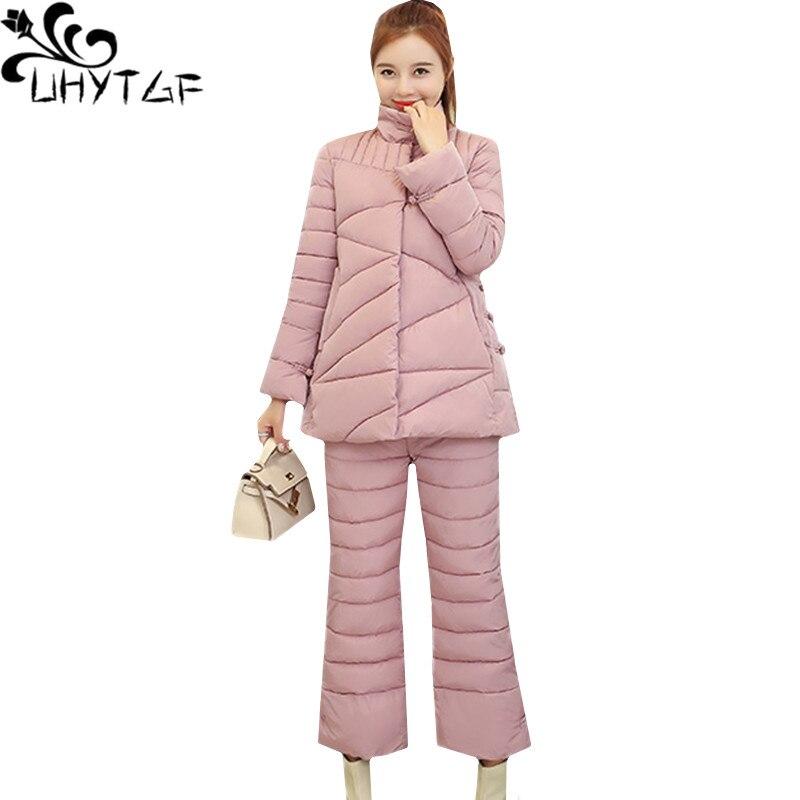 UHYTGF hiver doudoune deux pièces ensemble lâche 2XL grande taille haut en coton et coton pantalon épaissir chaud Parker 2 pièces ensemble femmes 781
