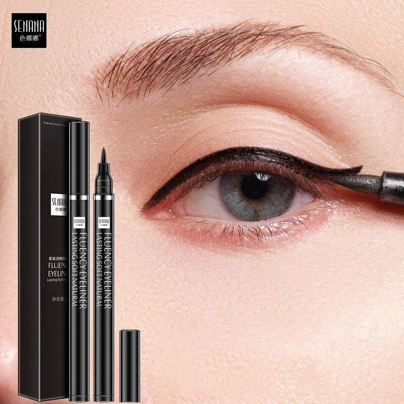 SENANA Eyeliner su geçirmez ter geçirmez Eyeliner sıvı hızlı kuru olmadan erime büyütmek gözler siyah ömürlü pürüzsüz gözler makyaj