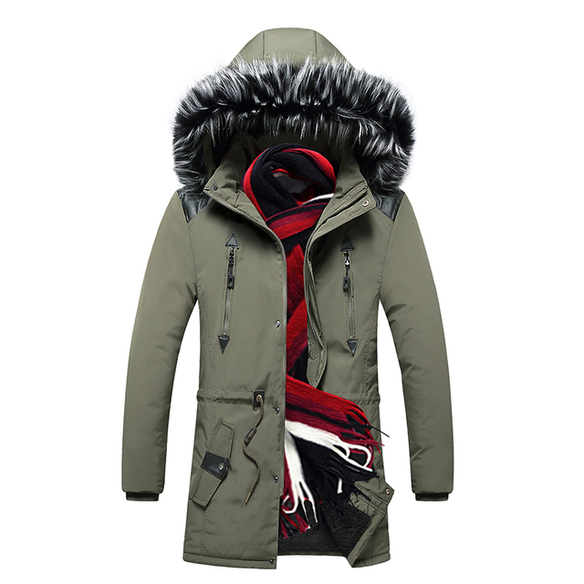 Men Parkas Jackets Winter Warm New Male Hooded Overcoats Outwear Fur Collar Thick Mens Casual Long Jacket Velvet High Quality