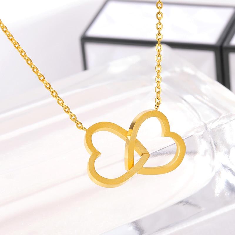 Двойно сърце Лариат висулки Колиета за жени любов бижута шаферки подаръци от неръждаема стомана верига бижута Femme Collier