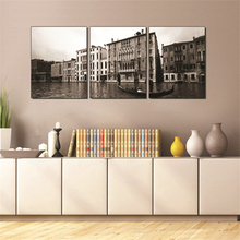 Realism American Decorative Painting Seaside City Beach Lake View Lakeside Panoramic Photography Landscape 3 Canvas Paintings american realism
