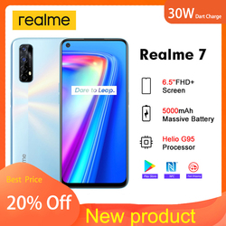 Realme 7 6.5'FHD+ Global  Version 6GB 64GB Smartphone 30W Dart Charge 5V/6A Helio G95 48MP Fullscreen 5000mAh Mobile Cell Phone