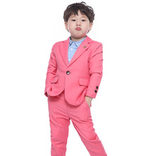 Spring And Autumn New Children's Clothing Boys Pure Color Small Suit Two-piece Casual Flower Boy Suit Boys' Attire