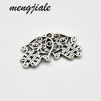 50 Uds Venta caliente Vintage metal de aleación de zinc dijes de mano Hamsa DIY pulsera de joyería colgante accesorios 21*15mm