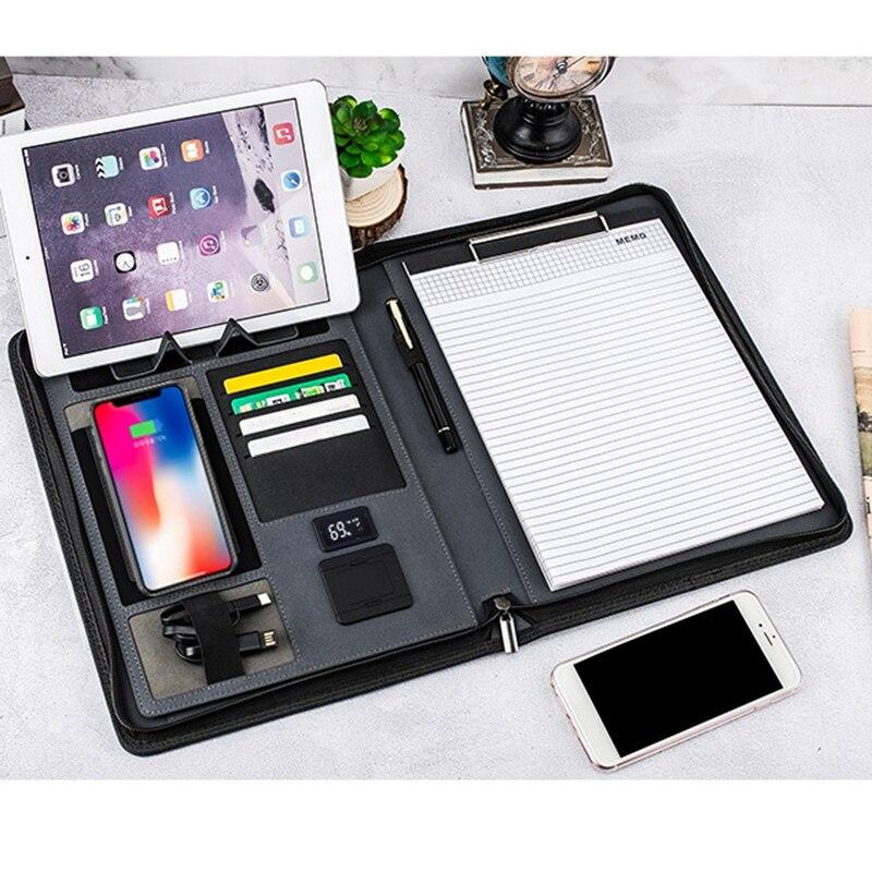 A4 taille voyage cahier Composition livre Business Manager sac dossier avec chargeur d'alimentation sans fil support de sac Mobile - 4