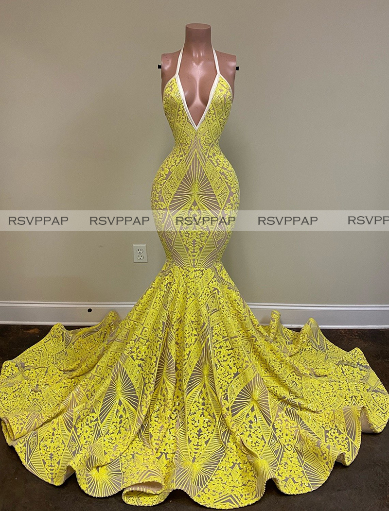 Long Mermaid Prom Dresses 2020 New Arrival African Girl Sexy Deep V-neck Backless Yellow Lace Custom Made Prom Gowns