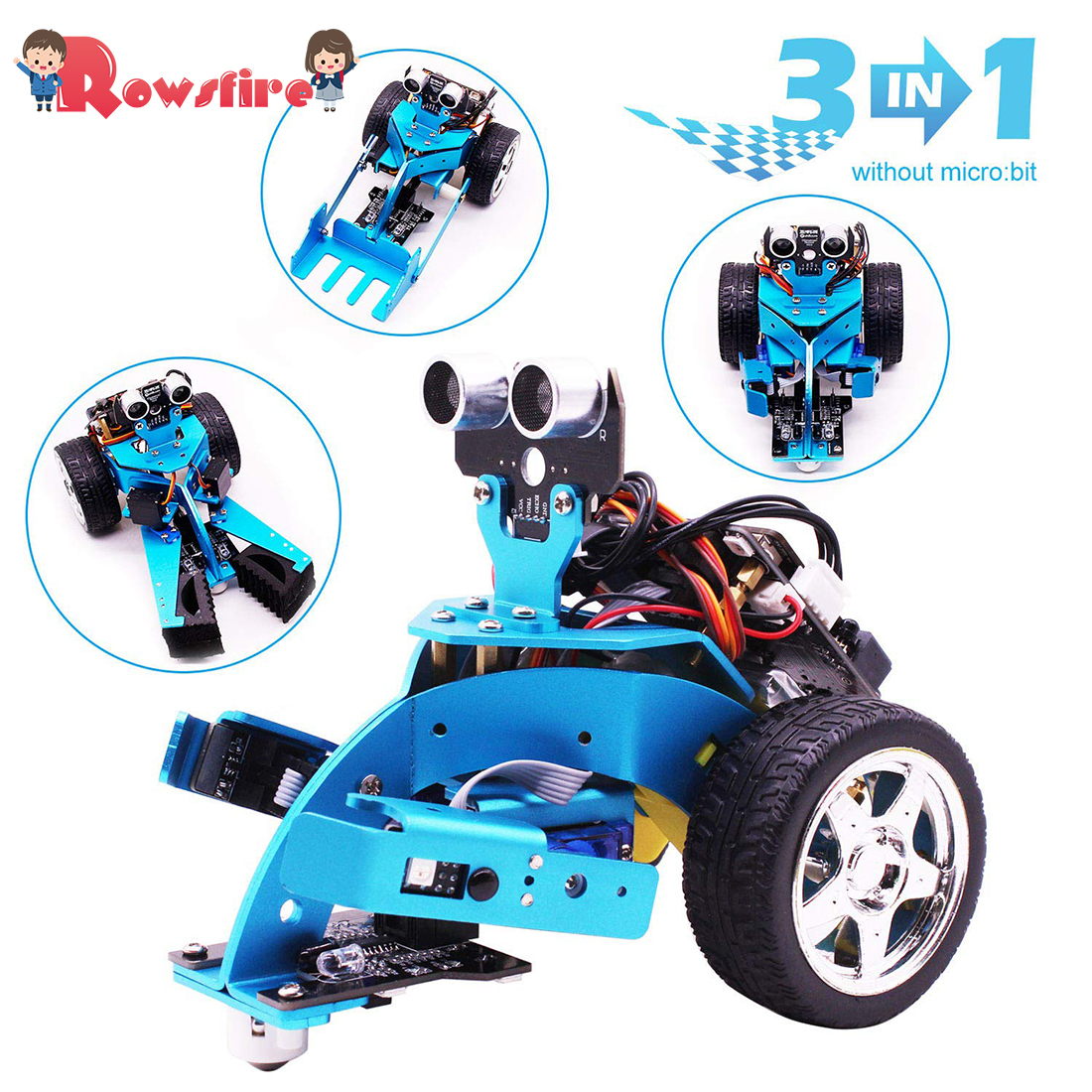 Rowsfire  3-in-1 Tem Steam Robot Car Toy ForChildren Adult Graphical Programmable Robot Car Toys +bluetooth Ir Tracking Module